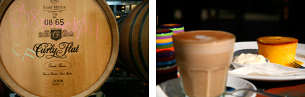 Image: Left: Curly Flat Winery  Right: Coffee at Cafe Colenso, Woodend