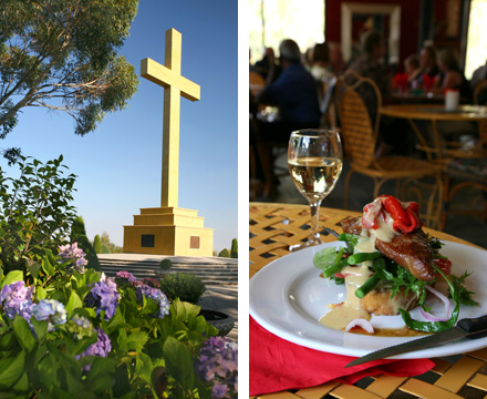 Image: Left: the Mount Macedon Memorial Cross  Right: The Cafe at Hanging Rock
